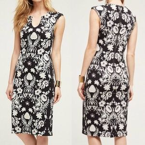 ANTHRO Etienne Dress Knit Floral Black & White 8